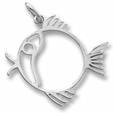 Sterling Silver Flat Fish Charm by Rembrandt Charms