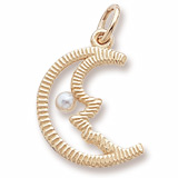 Gold Plate Half Moon with Pearl Charm by Rembrandt Charms