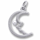 14K White Gold Half Moon with Pearl Charm by Rembrandt Charms