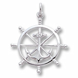 14k White Gold Anchor and Ship Wheel Charm by Rembrandt Charms