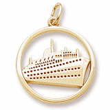 14K Gold Ringed Cruise Ship Charm by Rembrandt Charms