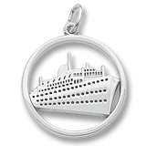 14K White Gold Ringed Cruise Ship Charm by Rembrandt Charms