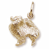 Gold Plate Pomeranian Dog Charm by Rembrandt Charms