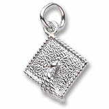 Sterling Silver Graduation Cap Accent Charm by Rembrandt Charms