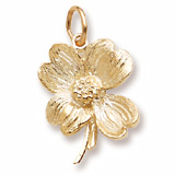 Gold Plate Dogwood Flower Charm by Rembrandt Charms
