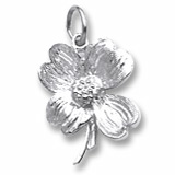 14K White Gold Dogwood Flower Charm by Rembrandt Charms
