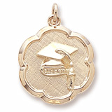 Gold Plate Grad Cap Scalloped Disc Charm by Rembrandt Charms