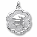 Sterling Silver Grad Cap Scalloped Disc Charm by Rembrandt Charms