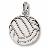 14K White Gold Flat Volleyball Charm by Rembrandt Charms
