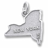 14K White Gold New York Map Charm by Rembrandt Charms