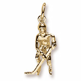 Gold Plate Hockey Player Charm by Rembrandt Charms