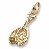 10K Gold Tennis Racquet Pair Charm by Rembrandt Charms