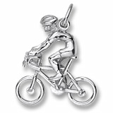 14K White Gold Bicycle Cyclist Charm by Rembrandt Charms