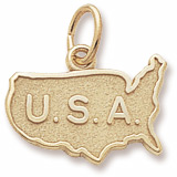 Gold Plated USA Map Charm by Rembrandt Charms