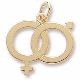 Gold Plate Male and Female Symbol Charm by Rembrandt Charms