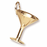 Gold Plate Martini Glass Charm by Rembrandt Charms