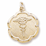 10K Gold Caduceus Scalloped Disc Charm by Rembrandt Charms
