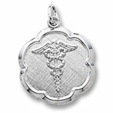 Sterling Silver Caduceus Scalloped Disc Charm by Rembrandt Charms