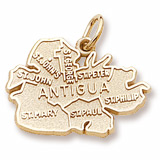 Gold Plated Antigua Island Map Charm by Rembrandt Charms