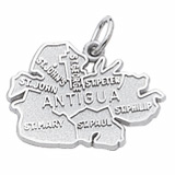 14K White Gold Antigua Island Map Charm by Rembrandt Charms