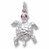 14K White Gold Turtle with Stones Charm by Rembrandt Charms
