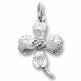 14K White Gold Dogwood Charm by Rembrandt Charms