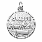 14K White Gold Happy Anniversary Disc Charm