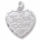 14K White Gold Mother We Love You Heart Charm by Rembrandt Charms