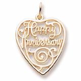 10K Gold Happy Anniversary Heart Charm