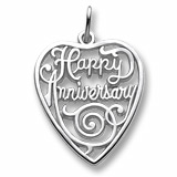 14K White Gold Happy Anniversary Heart Charm