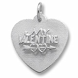 14K White Gold My Valentine Heart Charm by Rembrandt Charms