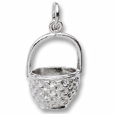 14K White Gold Basket Charm by Rembrandt Charms