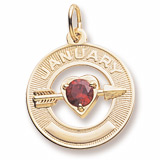 Gold Plated 01 Jan Month of Love Charm by Rembrandt Charms