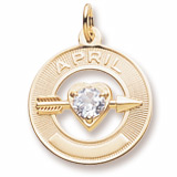 Gold Plated 04 Apr Month of Love Charm by Rembrandt Charms