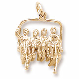 Gold Plated Quad Ski Lift Chair Charm by Rembrandt Charms