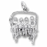 14K White Gold Skiing Quad Lift Chair Charm by Rembrandt Charms