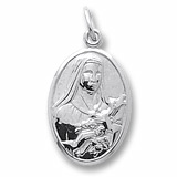 14K White Gold Saint Theresa Charm by Rembrandt Charms