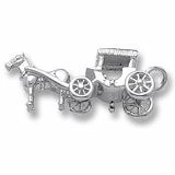 14K White Gold Horse and Surrey Charm by Rembrandt Charms