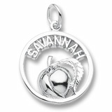 14K White Gold Savannah Peach Charm by Rembrandt Charms