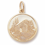 Gold Plated Covered Bridge Charm by Rembrandt Charms