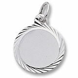 14K White Gold Small Faceted Disc Charm by Rembrandt Charms