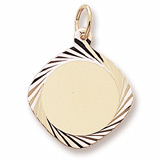 14K Gold Square Dia Faceted Disc Charm by Rembrandt Charms