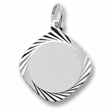 14K White Gold Square Dia Faceted Disc Charm by Rembrandt Charms