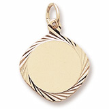 10K Gold Small Square Facet Disc Charm by Rembrandt Charms