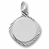 14K White Gold Small Square Facet Disc Charm by Rembrandt Charms