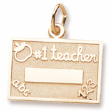 Gold Plated Number One Teacher Charm by Rembrandt Charms