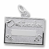 Sterling Silver Number One Teacher Charm by Rembrandt Charms