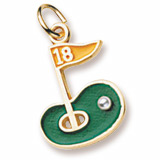 Gold Plated Golf Green 18th Hole Charm by Rembrandt Charms