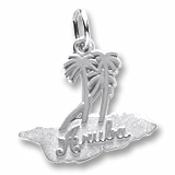 14k White Gold Aruba Palm Trees Charm by Rembrandt Charms
