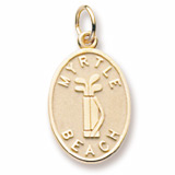 14K Gold Myrtle Beach Golf Bag Charm by Rembrandt Charms